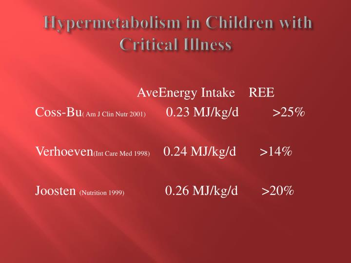 Hypermetabolism in Children with  Critical Illness