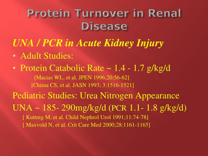 Protein Turnover in Renal Disease
