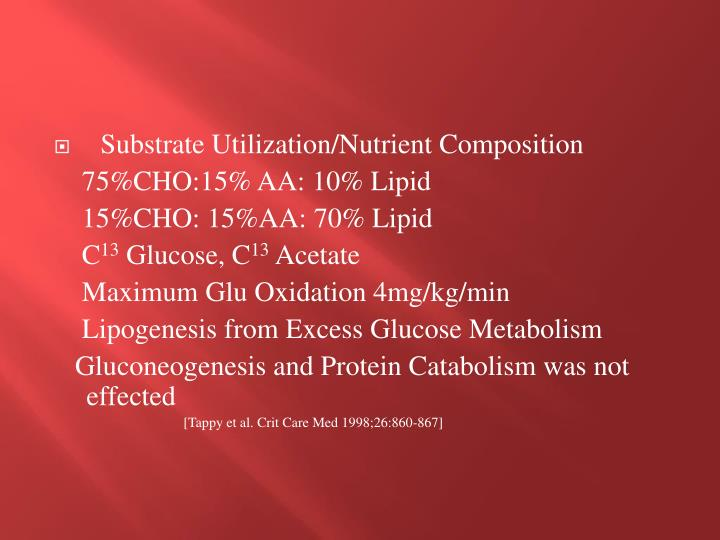 Substrate Utilization/Nutrient Composition