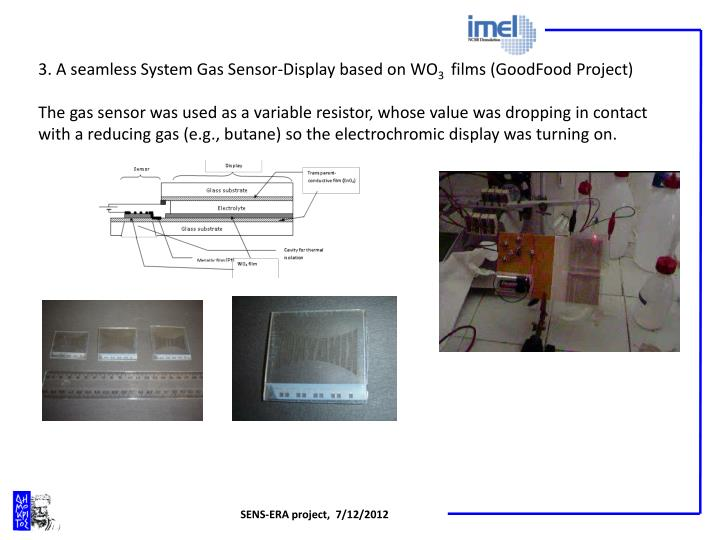 3. A seamless System Gas Sensor-Display based on WO