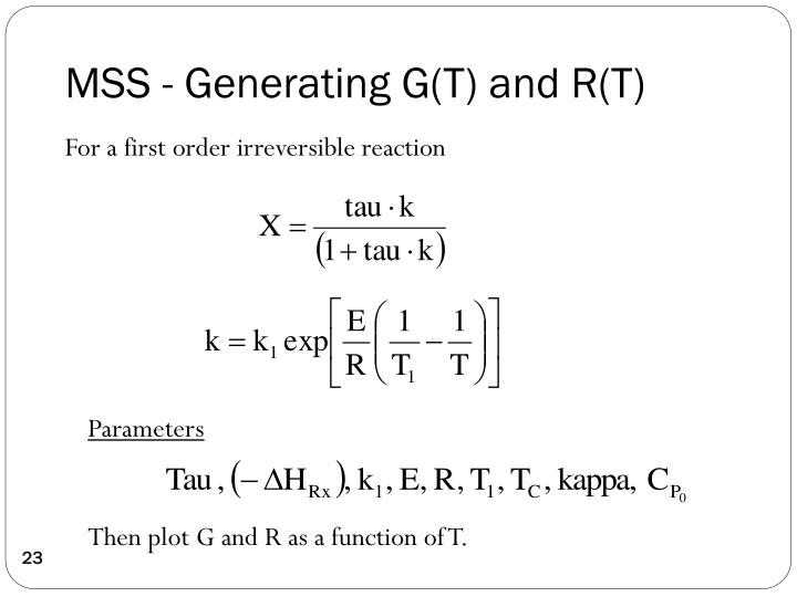 MSS - Generating G(T) and R(T)