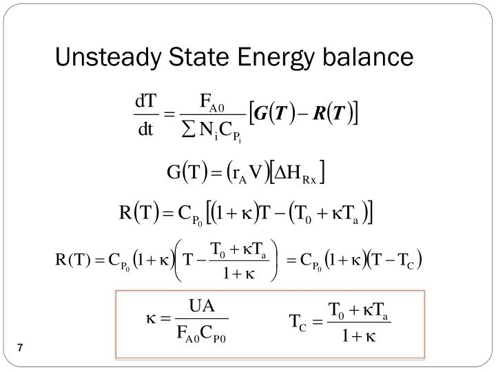 Unsteady State Energy balance