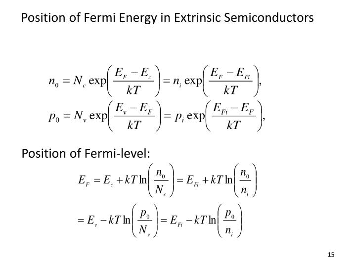 Position of Fermi Energy in Extrinsic Semiconductors