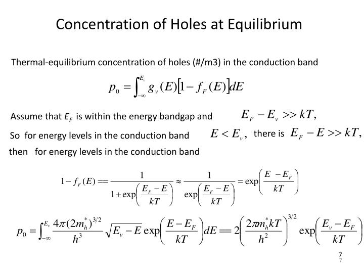 Concentration of Holes at Equilibrium