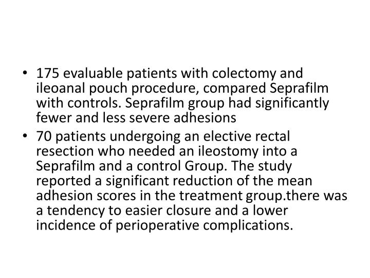 175 evaluable patients with colectomy and