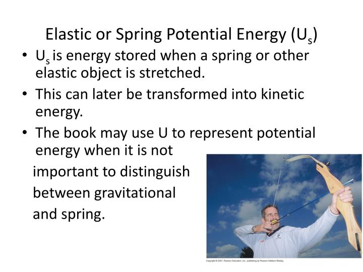 Elastic or Spring Potential Energy (U