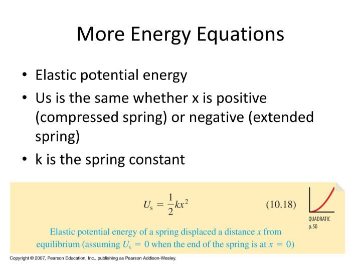More Energy Equations