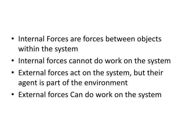 Internal Forces are forces between objects within the system