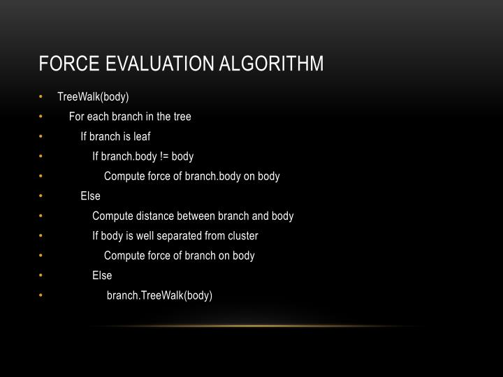 Force evaluation algorithm