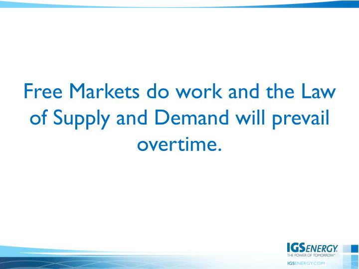 Free Markets do work and the Law of Supply and Demand will prevail overtime.