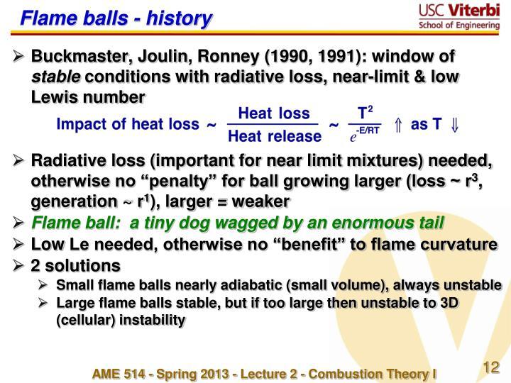 Flame balls - history