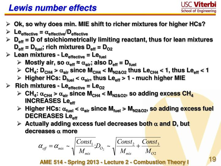 Lewis number effects