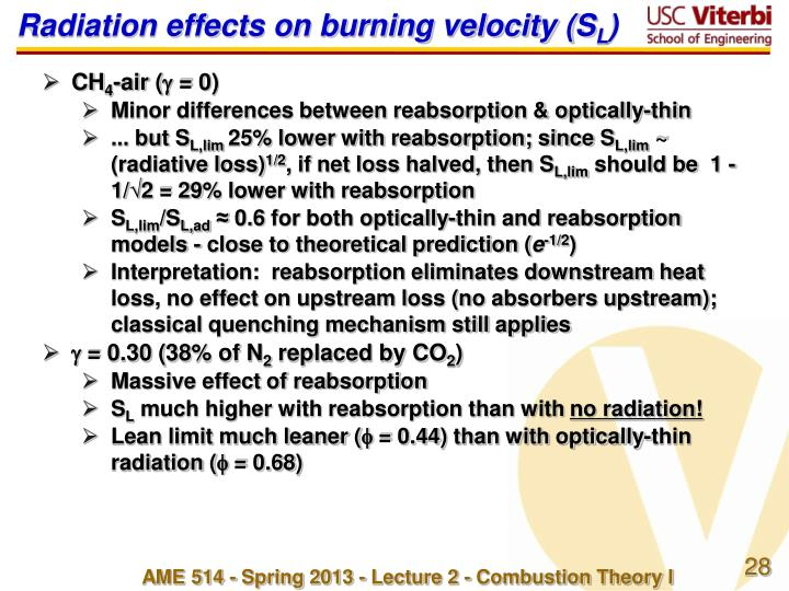 Radiation effects on burning velocity (S