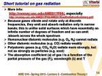 short tutorial on gas radiation