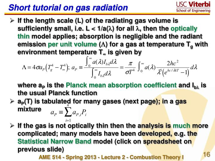 Short tutorial on gas radiation