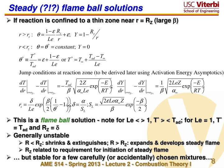 Steady (?!?) flame ball solutions