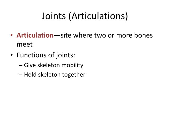 Joints articulations