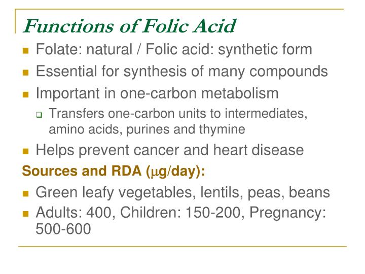 Functions of Folic Acid