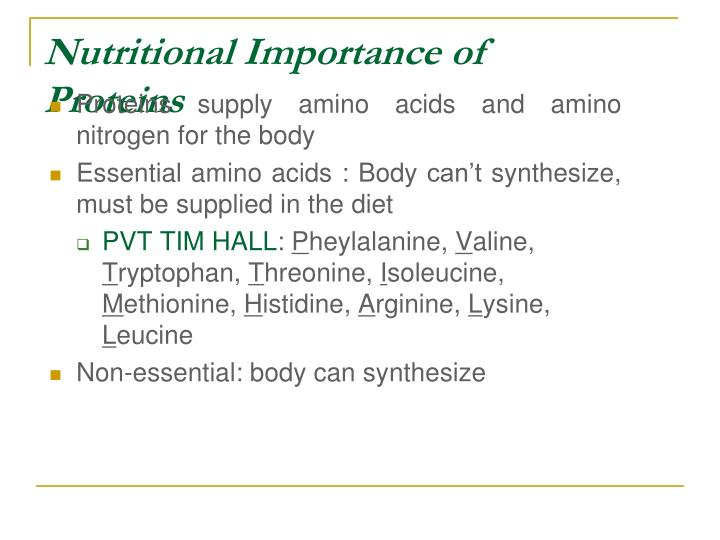 Nutritional Importance of Proteins