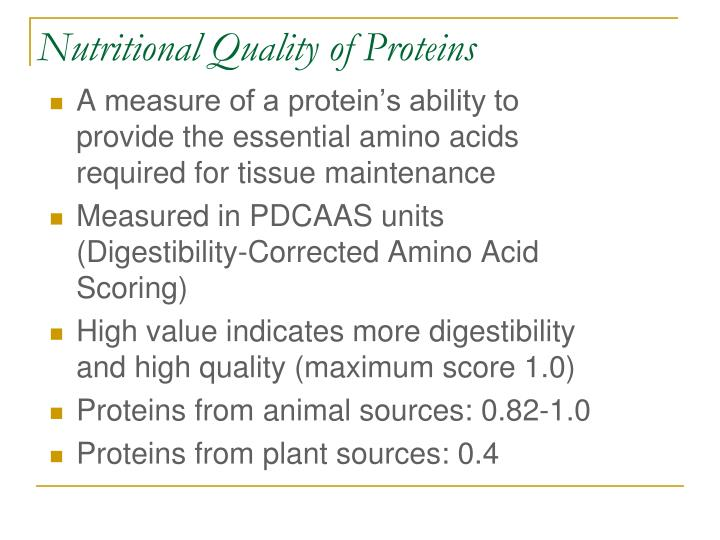 Nutritional Quality of Proteins