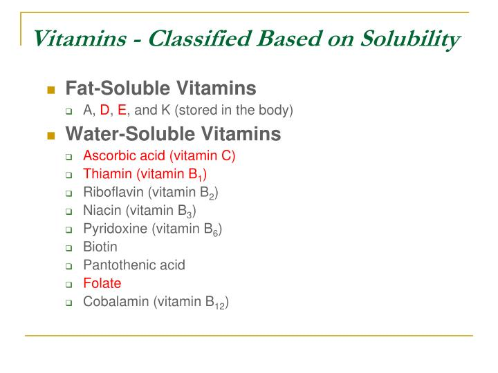 Vitamins - Classified Based on Solubility
