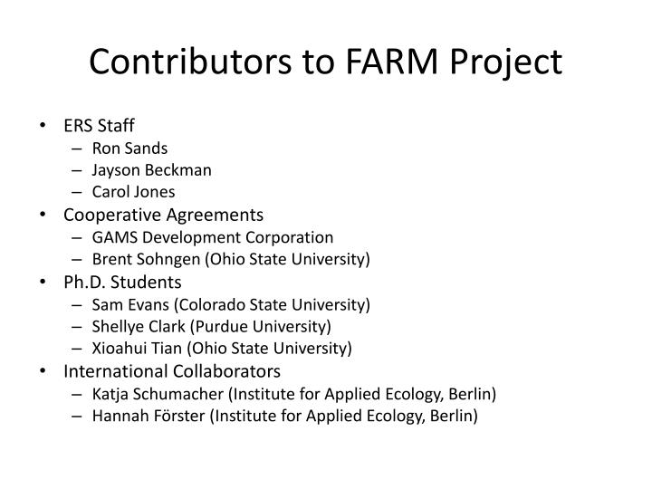 Contributors to FARM Project