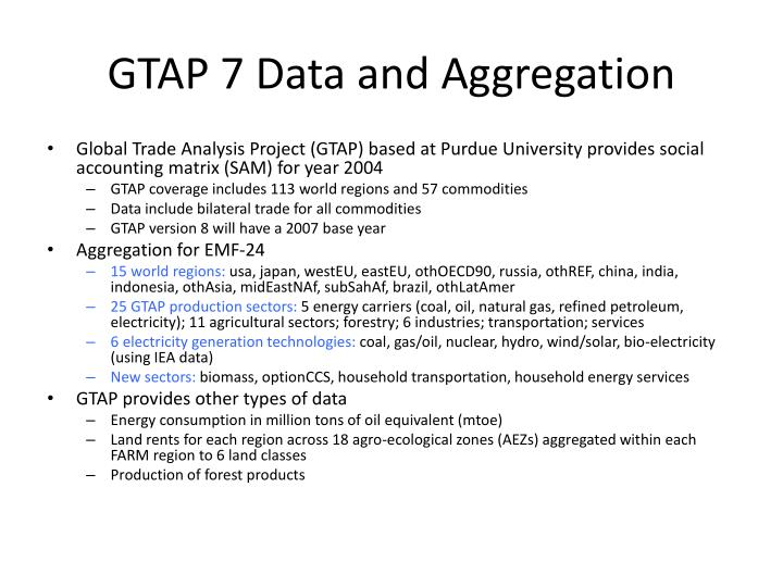 GTAP 7 Data and Aggregation