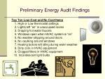 preliminary energy audit findings