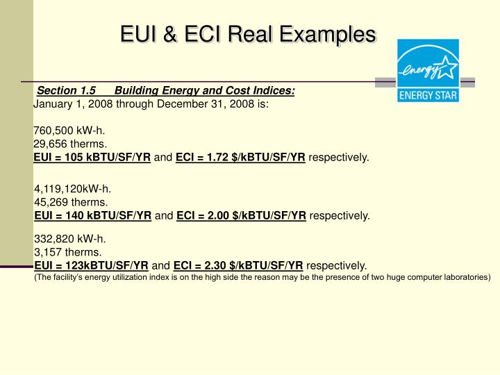 EUI & ECI Real Examples