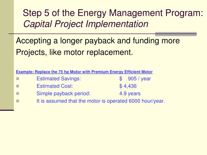 Step 5 of the Energy Management Program: