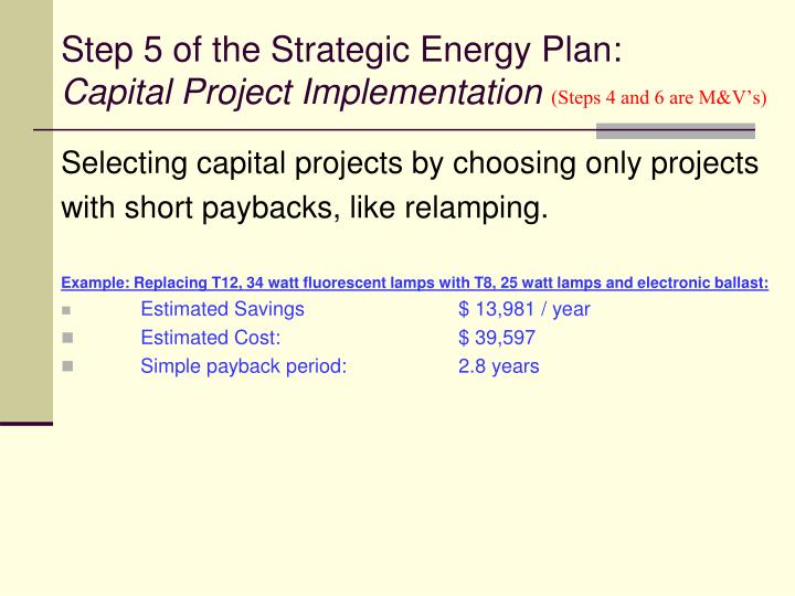 Step 5 of the Strategic Energy Plan: