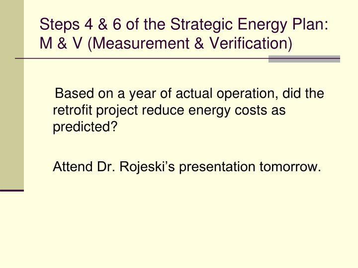 Steps 4 & 6 of the Strategic Energy Plan: