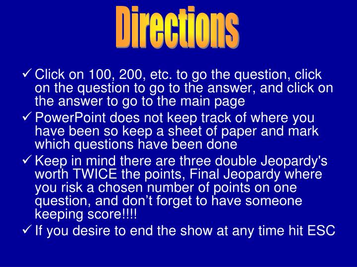 Click on 100, 200, etc. to go the question, click on the question to go to the answer, and click on the answer to go to the main page