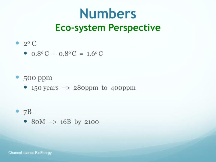 Numbers eco system perspective