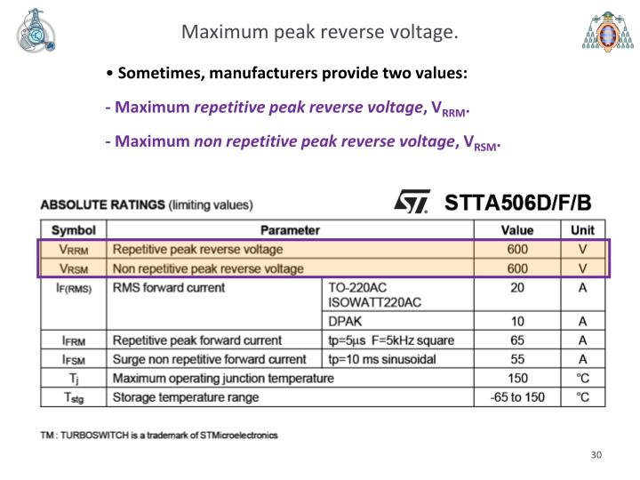 Maximum peak reverse voltage.