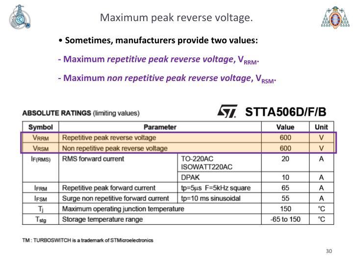 Maximum peak reverse voltage.