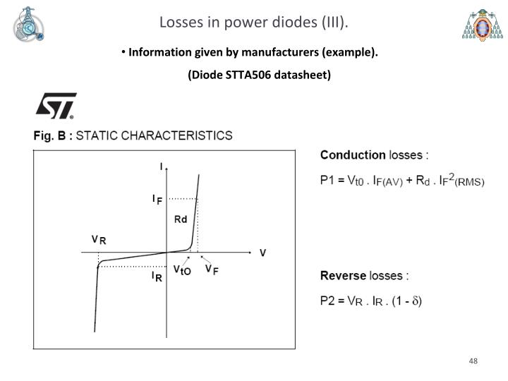 Losses in power diodes (III).