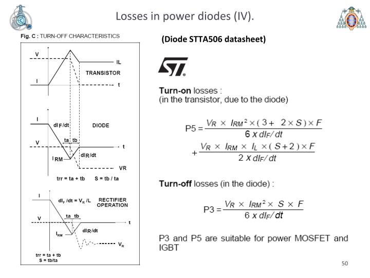 Losses in power diodes (IV).