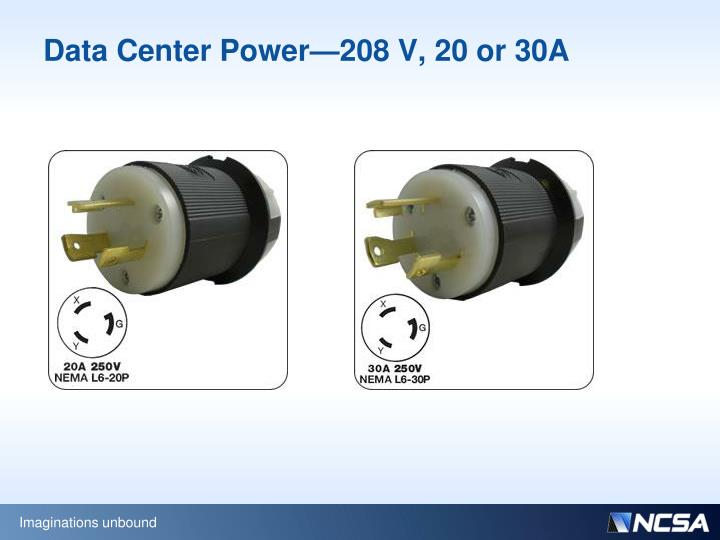 Data Center Power—208 V, 20 or 30A