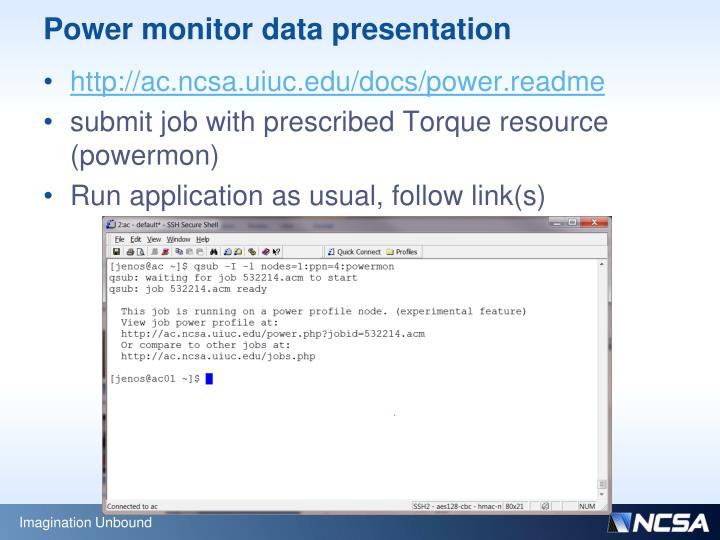 Power monitor data presentation