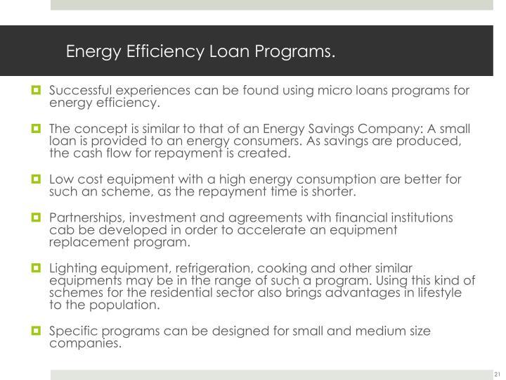 Energy Efficiency Loan Programs.