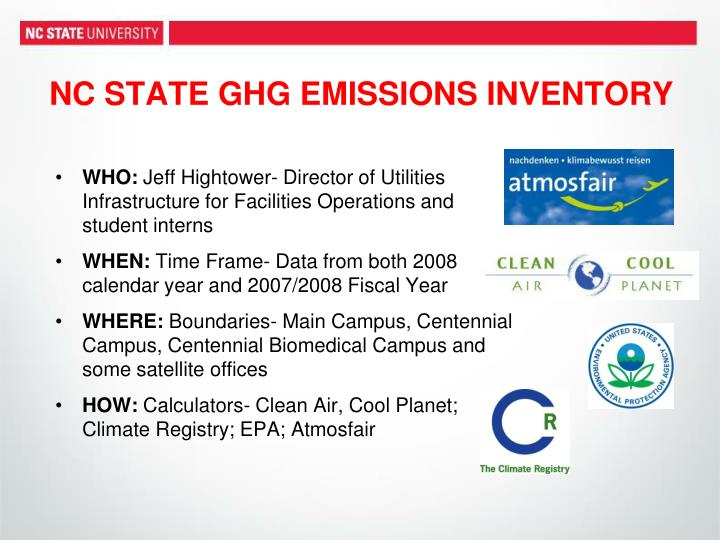NC STATE GHG EMISSIONS INVENTORY