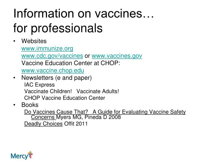 Information on vaccines…