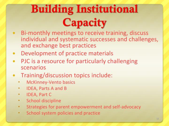 Building Institutional Capacity