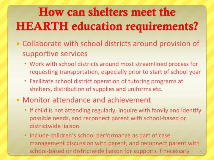 How can shelters meet the HEARTH education requirements?