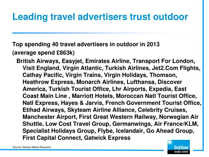 Leading travel advertisers trust outdoor
