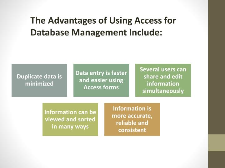 The Advantages of Using Access for Database Management Include: