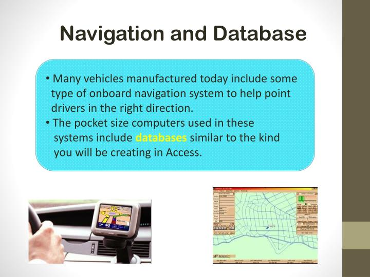 Navigation and Database