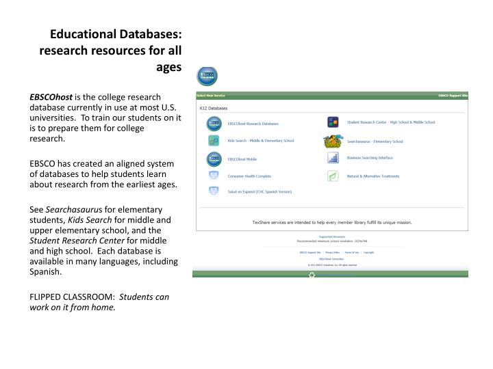 Educational Databases:  research resources for all ages