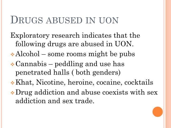 Drugs abused in
